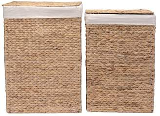 Villacera Portable Handmade Wicker Laundry Hampers with Lid Set of 2
