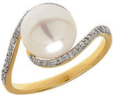 Lord & Taylor 9MM Pearl, Diamond and 14K Yellow Gold Ring