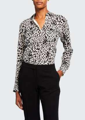 Lafayette 148 New York Zora Cheetah Print Silk Button-Down Blouse