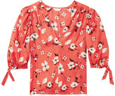 Rebecca Taylor Daniella silk v neck top in punch floral fabric - UK8 - Red/Natural/Grey