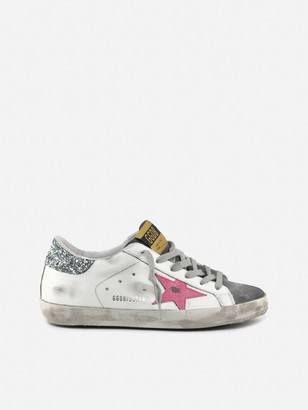 Golden Goose Superstar Sneakers In Leather With Glitter Detail