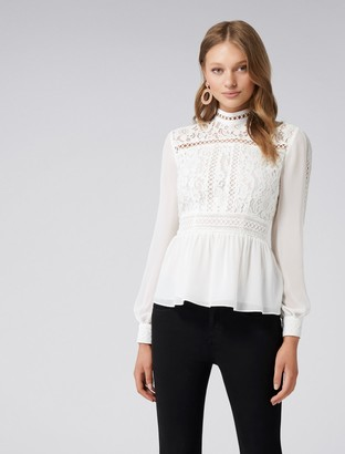 Forever New Luna Lace Bodice Trim Detail Blouse - Porcelain - 4