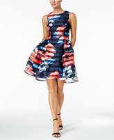 Vince Camuto Floral Striped Fit & Flare Dress