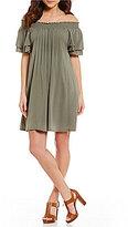 Gibson & Latimer Off-The-Shoulder Flutter Sleeve Gauze Dress