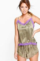 Boohoo Erin Satin Cami And Short With Contrast Lace PJ Set