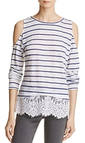 Generation Love Martha Striped Top with Lace-Hem