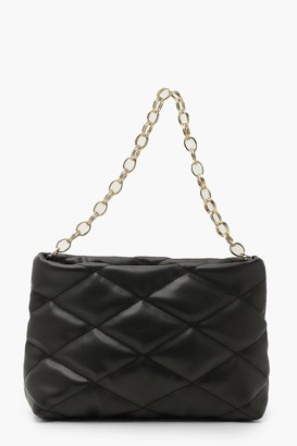 boohoo Oversized Quilted Clutch And Chunky Chain