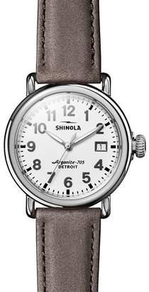Shinola The Runwell Heather Gray Leather Strap Watch, 36mm