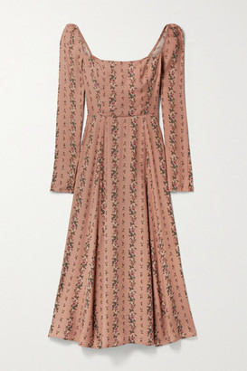 Reformation Sigmund Shirred Floral-print Georgette Midi Dress - Antique rose