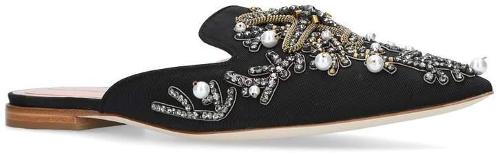 Alberta Ferretti Mia Couture Pearl Embroidered Mules
