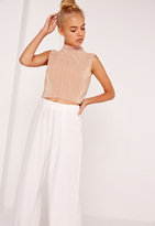 Missguided High Neck Vertical Pleated Crop Top Nude