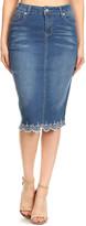 Be Girl be-girl Women's Denim Skirts Vintage - Vintage Wash Denim Lace-Hem Pencil Skirt - Women
