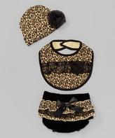 Baby Essentials Black & Tan Cheetah Lace Diaper Cover Set - Infant
