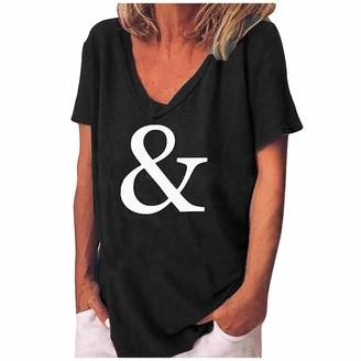 B Commerce B-commerce Women V-Neck Print Loose Plus Size Ventilation Short Sleeves T-Shirt Blouse Tops Black