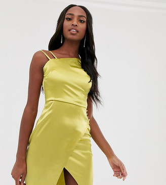 Outrageous Fortune Tall satin asymmetric shoulder dress in lime