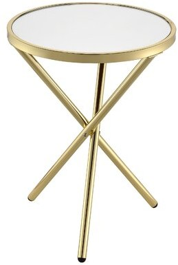 Mercer41 Eastman End Table Color: Mirror/Gold