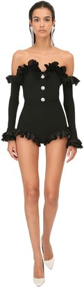 Alessandra Rich Ruffled Jersey Mini Jumpsuit