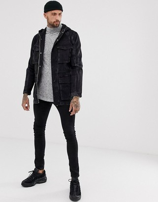 Asos Design DESIGN denim parka jacket in washed black