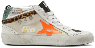 Golden Goose White and Black Mid Star Sneakers