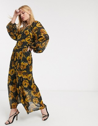 Object chiffon maxi dress with volume sleeves in black floral