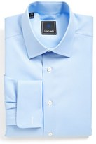 David Donahue Men's Regular Fit Dobby Check French Cuff Dress Shirt