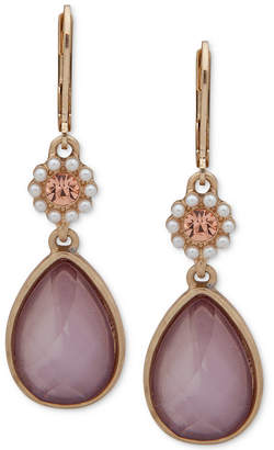 lonna & lilly Gold-Tone Colorful Stone Double Drop Earrings