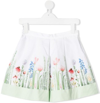 Il Gufo Floral-Print Cotton Skirt