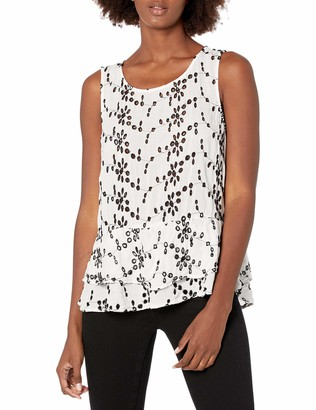 Velvet by Graham & Spencer Women's Eyelet Peplum Shell Tank
