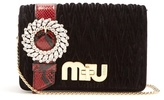 Miu Miu Snakeskin-trimmed velvet cross-body bag