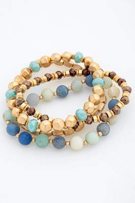 francesca's Isabela Semi Precious Beaded Bracelet Set - Mint