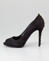 Alexander McQueen Studded-Heel Peep-Toe Suede Pump, Black