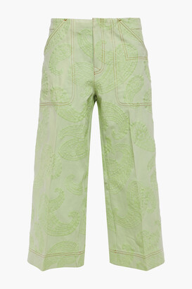 Acne Studios Cropped Embroidered High-rise Wide-leg Jeans