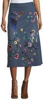 Alice + Olivia Libbie Embellished A-Line Denim Midi Skirt