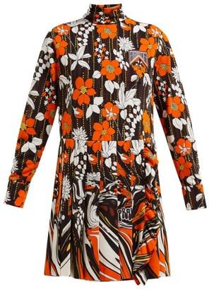 Prada Roll-neck Floral-print Mini Dress - Womens - Orange Multi