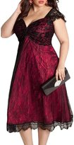 Kalin L Women Retro Lace Embellished Plus Size Midi Cocktail Dress (XXL, )