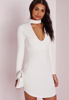 Missguided Petite Crepe Choker Curve Hem Cut Out Bodycon Dress White