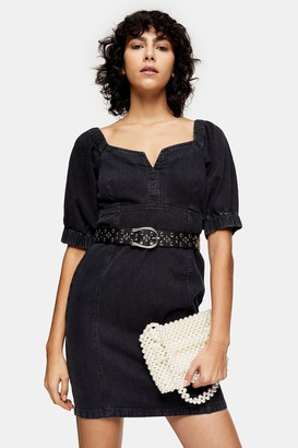 Topshop Womens Idol Washed Black Bodycon Puff Sleeve Denim Dress - Washed Black