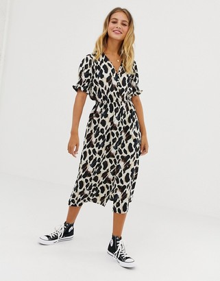Influence shirred sleeve midi dress with button front in leopard print-Brown