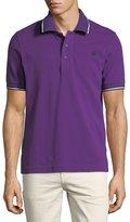 Bally Striped Cotton Pique Polo Shirt, Purple