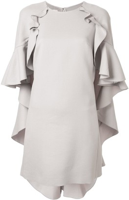 Giambattista Valli ruffle cape shift dress