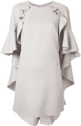 Giambattista Valli Ruffle Cape Shift Dress