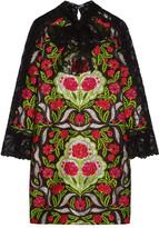 Gucci Corded Lace-paneled Metallic Floral-jacquard Mini Dress