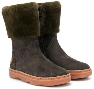 Camper Kids Calf-Length Fur-Detail Boots