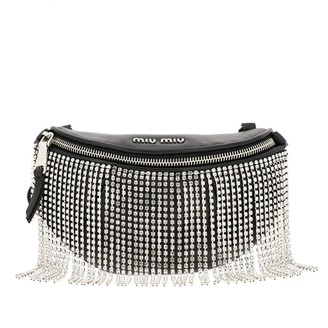 Miu Miu Pouch / Bag In Leather With Rhinestone Fringes