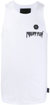Philipp Plein Logo Plaque Printed Vest Top