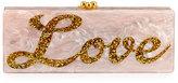 Edie Parker Peace & Love Flavia Clutch Bag, Rose Quartz