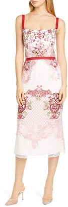 Marchesa Embroidered Pencil Dress