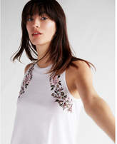 Express one eleven floral embroidered tank