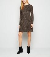New Look Leopard Print Long Sleeve Dress