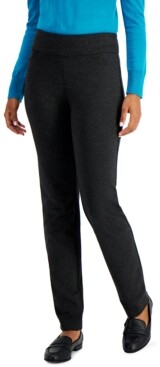 Charter Club Petite Cambridge Heathered Pull-On Ponte Pants, Created for Macy's